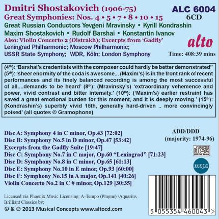 Dmitri Shostakovich Great 6 Symphonies (4,5,7,8,10 & 15)
