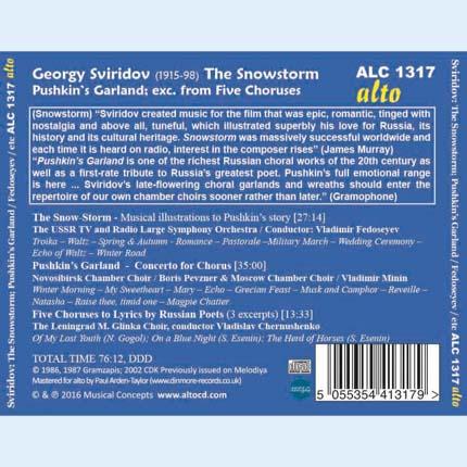 Gyorgy Sviridov: The Snowstorm Pushkin's Garland; (Three) Choruses