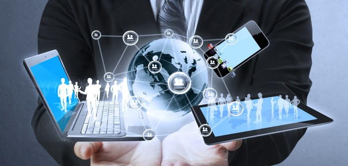 Technology work in the hands of businessmen
