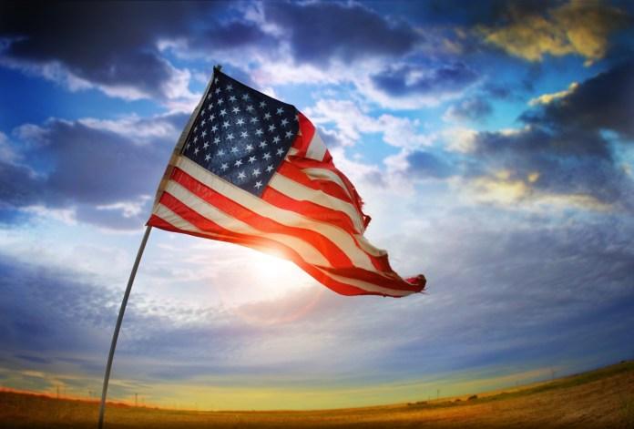 American flag sunlight