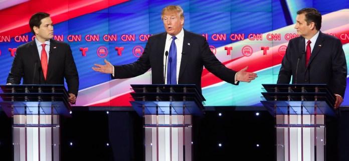 GOP Debate_25 Feb 2016_Trump Rubio Cruz