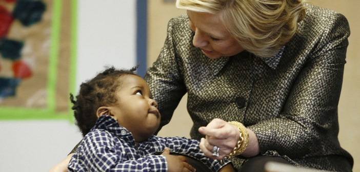 Hillary Clinton with little boy