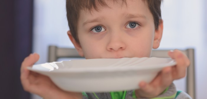 hungry child wanting food