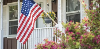 Amerian flag front porch