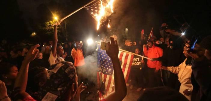 Burning American Flag