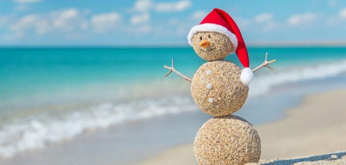 sunny beach snowman sand