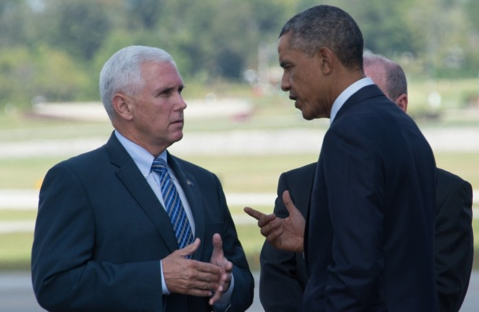 Mike Pence and Barack Obama