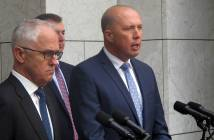 Australian Prime Minister Malcolm Turnbull, left, and Immigration and Border Protection Minister Peter Dutton