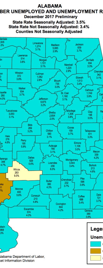Alabama unemployment rates Dec 2017