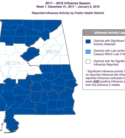 Reported influenza activity by public health district