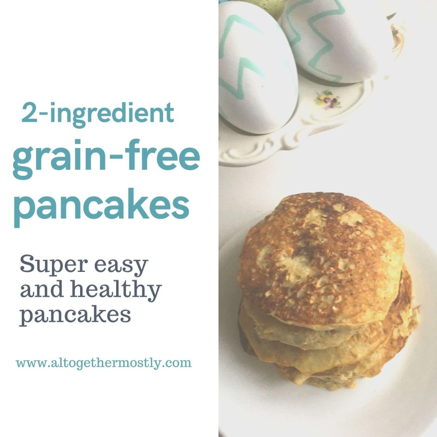stack of golden healthy grain-free pancakes made with two ingredients