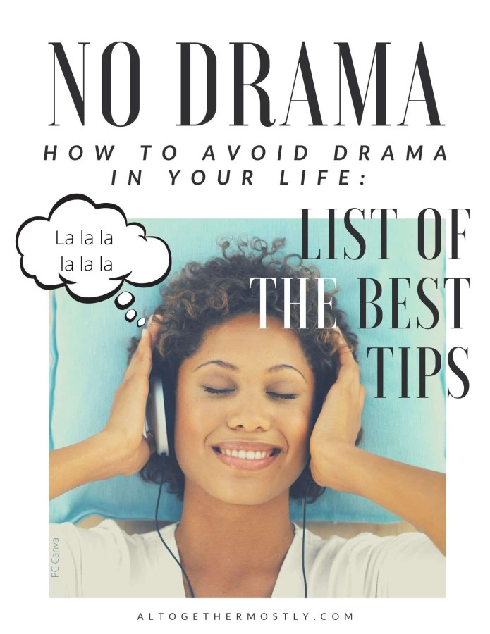 avoid drama in your life with this list of tips happy woman on a blue background listening to music