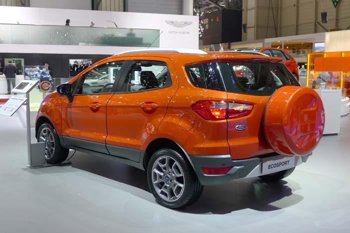 Ford viste sidste år i Genève et koncept kaldet Ecosport, og den står i år som produktionsklar model, men er ikke programsat til det danske marked, hvor modelpaletten i forvejen byder på en 5-dørs Fiesta hatchback og ditto B-Max/Fusion, så der skønnes ikke at være marked for en bil som Ecosport.