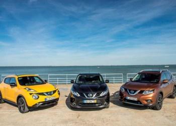 Nissans nye vifte af crossovere, SUV-trioen består fra venstre af Jukke, Qashqai og X-Trail.