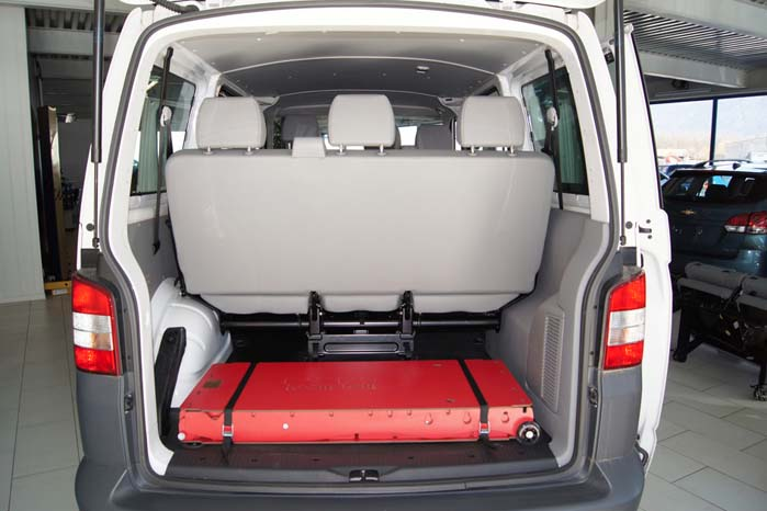 Så meget - eller rettere lidt - fylder RoomBox freeTech-systemet i en VW Transporter.