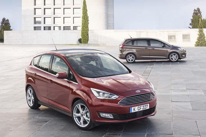 Ford C-Max - i to størrelser - med nydesignet frontgrill, lygter og kromdetaljer.