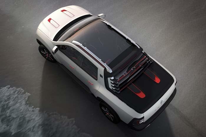 Med tagræling og panorama-soltag er Duster Oroch lavet til andet end simpel transport.