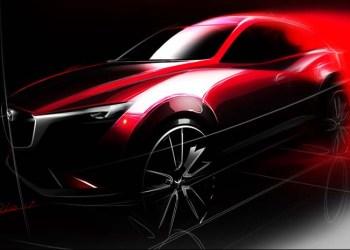 Det foreløbigt eneste officielle glimt af Mazdas nye CX-3 SUV.