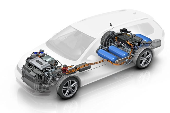 Golf HyMotion laver sin elektricitet af brint fra fire tanker, placeret omkring bagakslen