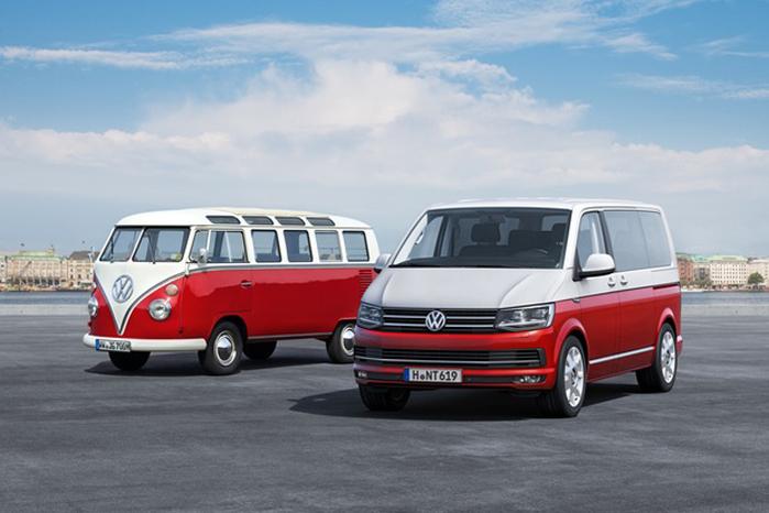 VW Transporter i sjette generation shinet op med en klassisk tofarvet lakering - ligesom i gamle dage