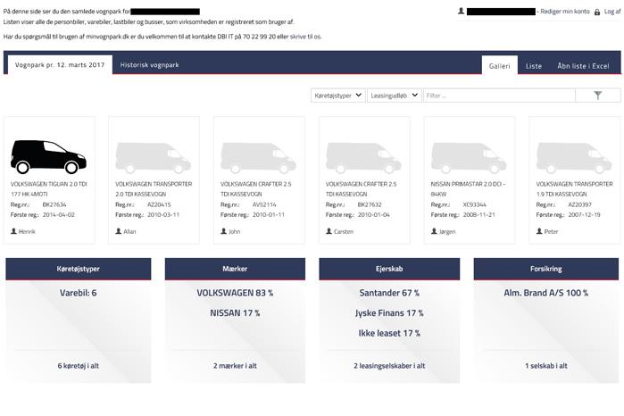 Her ser du et udtræk fra sitet, hvor du kan se samtlige detaljer helt ned til farven på dine biler