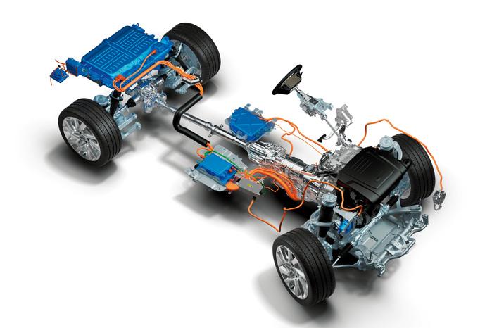 Lithium-ion batteri på 13 kWh ligger bagest, mens den 115-hestes elmotor lige bag gearkassen dårligt ses på dette billede