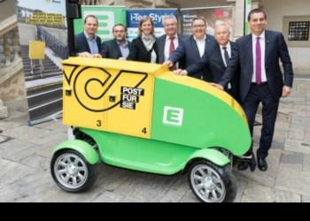Det østrigske postvæsen og dets samarbejdspartnere ser et stort potentiale i den selvkørende post-robot Jetflyer. Foto: Energie Steiermark