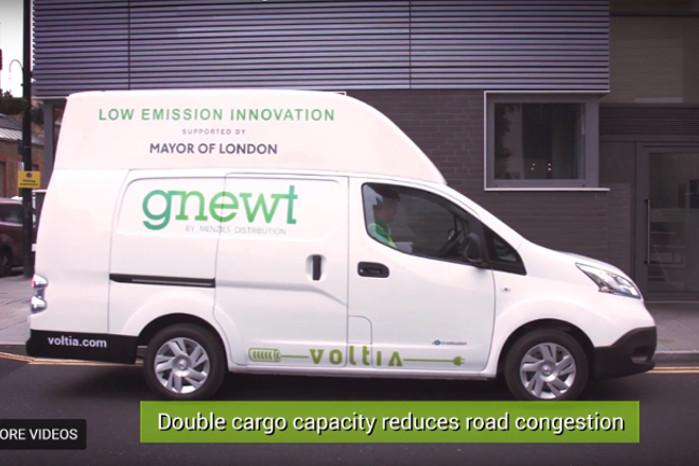 Voltia bygger på en Nissan e-NV200. Efter udbygningen er den 50 cm længere og 60 cm højere. Foto: Voltia