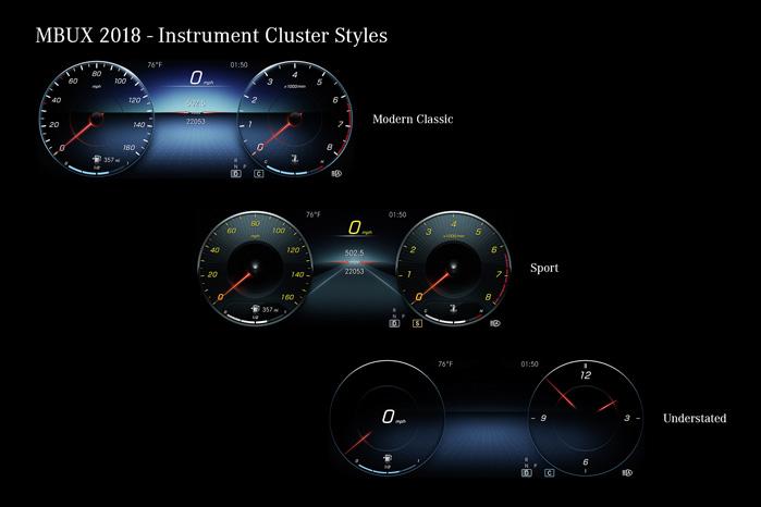 MBUX lagrer dine indstillinger, så de forskellige brugere af bilen for eksempel kan have forskellige displays. Her er nogle valgmuligheder