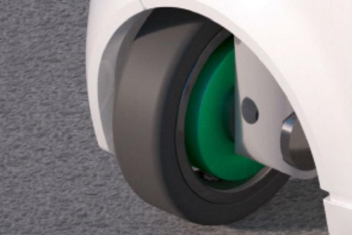 Hvert af de fire hjul kan dreje 90 grader