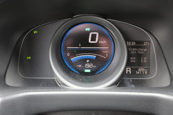 Læg lige mærke til, at der står 192 km i rækkevidde med cirka 2/3 fuldt batteri
