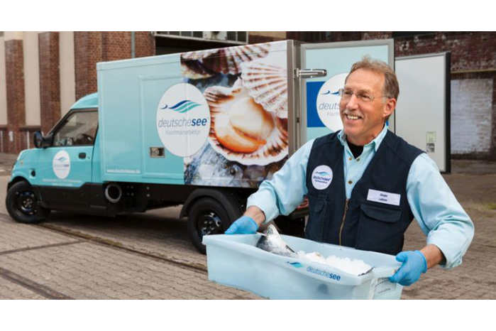 Fiskeleverandøren Deutsche See er godt tilfredse med StreetScooter som kølebil. Foto: Deutsche See