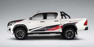 Sådan ser den ud - gode gamle Hilux - når den har været i pit hos Toyota Gazoo Racing. Foto: Toyota