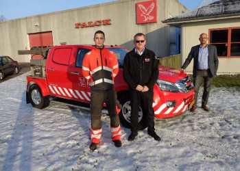 Falcks redningstjeneste har nu i alt 9 cityvogne baseret på Isuzu D-Max. Fra venstre Frank Steffensen, Max Johnsen og René Andersen