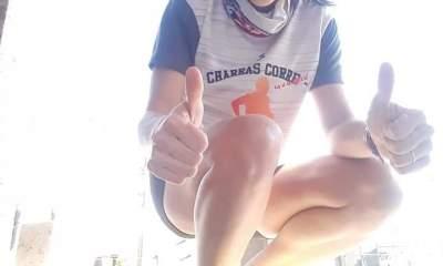La ganadora de la maratón Sampacho-Bulnes en la categoría damas, Cintia Fessia.