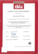 Occupational Health and Safety Management Systems OHSAS 18000 Auditor Conversion Certificate, issued by BVQI, Qatar, on May 2006.