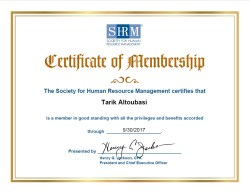 SHRM Membership Certificate, issued by SHRM, USA, on Sep. 2016.