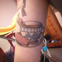 My teacup inner arm tattoo, done by Ana Tatu at Immaculate Chaos Collaborative, Bournemouth, in April 2016.