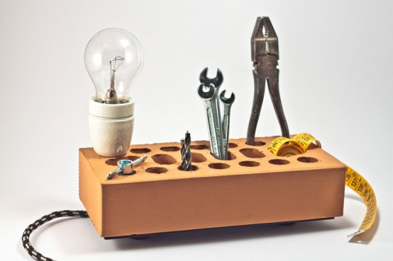 Another Brick (off the wall) lamp, desk organiser by Altrosguardo