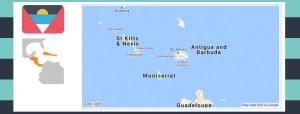 Map and flag of Antigua and Barbuda.