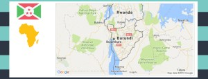 Map and flag of Burundi.