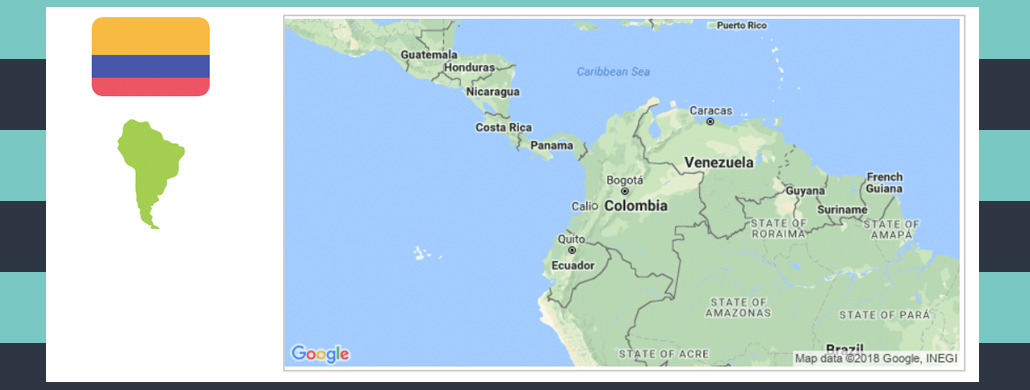 Map and flag of Colombia.