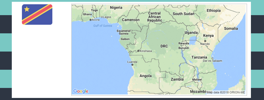Map and flag of Democratic Republic of Congo.
