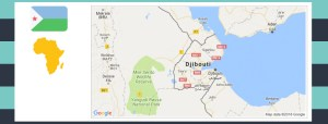 Map and flag of Djibouti.