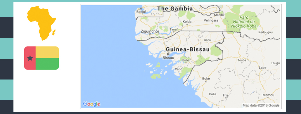 Map and flag of Guinea-Bissau.