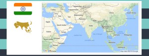 Map and flag of India.
