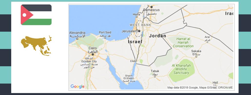 Map and flag of Jordan.