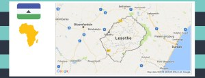 Map and flag of Lesotho.