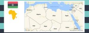 Map and flag of Libya.