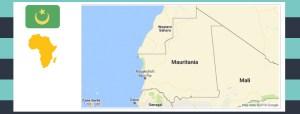 Map and flag of Mauritania.